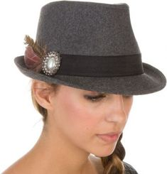 501ce0bc My Associates Store - Sakkas Womens Structured Wool Blend Feathered  Rhinestone Brooch Accent Fedora Hat