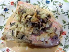 El Puchero de Morguix: Salmón en estuche de vapor con salsa de cebolla y ... Potato Salad, Grains, Pork, Food And Drink, Chicken, Ethnic Recipes, Queso, Diabetes, Arrows