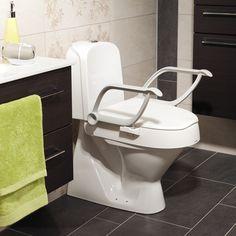 WC Sitzerhöhung Die Toilettensitzerhöhung Cloo ist einfach, schnell und ohne Werkzeug zu montieren. Die integrierten Armlehnen bieten Ihnen eine gute und stabile Unterstützung beim Hinsetzen und Aufstehen von Ihrer Toilette. Die WC Sitzerhöhung Cloo ist dreifach höhenverstellbar (6, 10 und 14 cm). Die Armlehnen sind zusätzlich hochschwenkbar. Die Toilettensitzerhöhung passt auf alle Toiletten, ausgenommen sind Dusch-WCs. Wc Sitz, Aluminium, Sink, Wcs, Bathroom, Home Decor, Stand Up, Simple, Armchairs