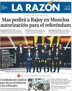 Titulares y Portada del 8 de Enero de 2013 del Periodico La Razón ¿Que te parecio este día?