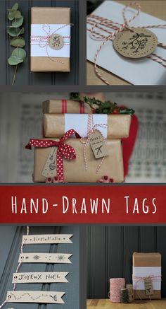 DIY - 16 Hand Drawn Gift Tags - Free PDF Printable