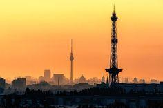 ღღ Skyline of Berlin by  Nelofee   ~~~ View from the Dragon Hill (Teufelsberg). The Funkturm in the foreground... TV tower in the background