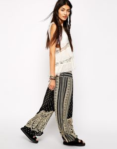 Free People Wide Leg Trouser in Paisley Border Print