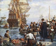 Mayflower+pilgrims.JPG English, living in Leiden, Holland, and ready to sail to America on the Mayflower, 1620.