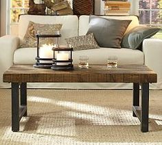 End Tables, Sofa Tables & Round End Tables Coffee Table Pottery Barn, Iron Coffee Table, Reclaimed Wood Dining Table, Coffee Tables, Wood Table, Diy Table, Home Living Room, Living Room Furniture, Home Furniture