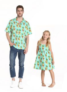 1803e3a401c8 Father Daugther Matching Hawaiian Luau Cruise Outfit Shirt Elastic Strap  Dress in Halloween Pineapple Skull