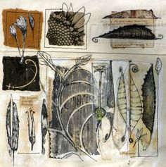 The gridded layout works really well when combined with illustrations and embroidery. I really like how the pieces overflow from their enclosed boxes. Natural Forms Gcse, Natural Form Art, Sketchbook Inspiration, Art Sketchbook, Observational Drawing, A Level Art, Gravure, Art Plastique, Illustrations