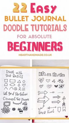 If you're in need of simple bullet journal doodle tutorials, then this list is for YOU! There are actually more than but 22 sources and a video that shows you how to doodle absolutely anything in your bullet journal. It's very easy! Learn how to doodle Doodle For Beginners, Bullet Journal For Beginners, Bullet Journal How To Start A, Bullet Journal Notebook, Bullet Journal Layout, Bullet Journal Ideas Pages, Bullet Journal Inspiration, Bullet Journals, Art Journals