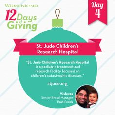 St. Jude Children's Research Hospital has long been a pioneer in curing, treating, and researching catastrophic children's illnesses, and Vishwas has long supported them. He's hoping you will, too. #12DaysofGiving