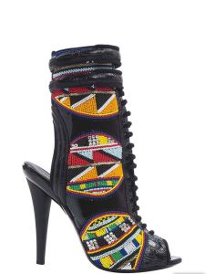 Emilio Pucci Massai inspired beaded leather and patent leather bootie