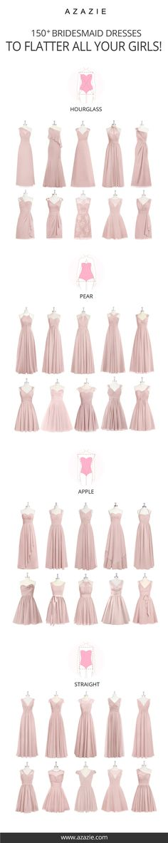 Bridesmaid Gowns Choose from 100 styles in 50 colors that are designed to fit your body shape perfectly! Beauty comes in all different sizes and so do your girls! Wedding Bridesmaid Dresses, Wedding Attire, Wedding Gowns, Prom Dresses, Bridesmaid Ideas, Wedding Ceremony, Long Dresses, Flattering Bridesmaid Dresses, Bridesmade Dresses