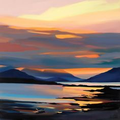 Red on the Cuillin (Limited Edition) by Pam Carter - Art Prints Gallery Watercolor Landscape, Landscape Art, Landscape Paintings, Sunset Paintings, Watercolour, Acrylic Paintings, Scrapbooking Image, Guache, Wow Art