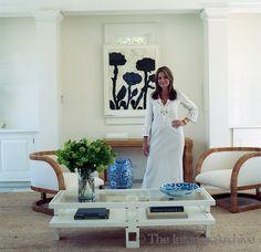 Portrait of Aerin Lauder Zinterhofer, senior vice-president and creative director of Estée Lauder in the living room of her home