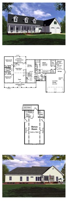 Ranch House Plan 59013   Total Living Area: 1799 sq. ft., 3 bedrooms & 2.5 bathrooms. The large kitchen includes the very popular oversized island and features a raised bar for conversations with close friends and family. Enjoy the view from your great room as your gas log fireplace keeps you and your family warm on those cold winter nights. #houseplan #ranchstyle