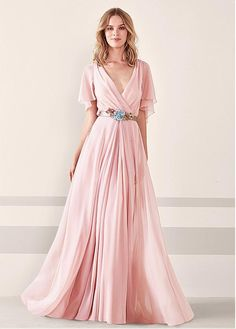 Buy discount Excellent Silk-like Chiffon V-neck Neckline Bell Sleeves A-line Prom Dress With Handmade Flowers & Sash at Ailsabridal.com