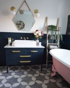 Traditional Bathroom 373165519125092085 - Bathroom, panneling, traditional bath, pink bath Source by ExoticaBuzz Zen Bathroom, Modern Bathroom, Small Bathroom, Master Bathroom, Neutral Bathroom, Pink Bathrooms, Bathroom Colours, Bathroom Scales, Relaxing Bathroom