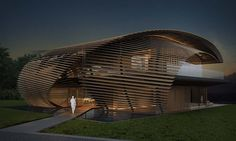 "The 215,000-square-foot project, named Tsubomi Villas, or ""flower bud"" in Japanese, will include six villas enveloped in overlapping layers of wood that form hyperbolic paraboloid roof canopies."