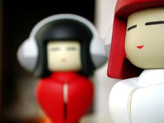 Red and White Kokeshi Dolls