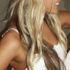 Blonde with brown underneath. Waves. Braid.