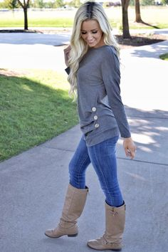 Gray triple button long sleeve in 2019 cute outfits 20s Outfits, Outfits For Teens, Trendy Outfits, Fall Outfits, Cute Outfits, Fashion Outfits, Gray Outfits, Night Outfits, Fall Fashion Trends