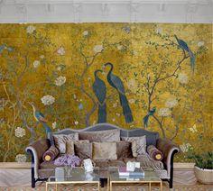 Coordonne Edo Gold Vinyl Behang: Chinoiserie - Luxury By Nature Wallpaper Uk, Feature Wallpaper, Luxury Wallpaper, Wallpaper Direct, Designer Wallpaper, Gold Wallpaper Living Room, Gold Chinoiserie Wallpaper