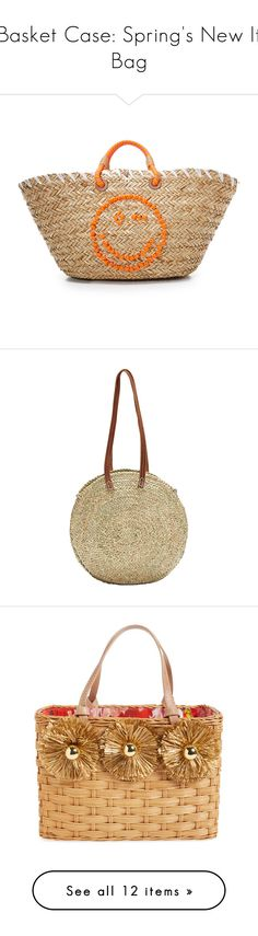 """Basket Case: Spring's New It Bag"" by polyvore-editorial ❤ liked on Polyvore featuring basketbags, bags, handbags, tote bags, natural, woven straw handbags, beige tote, woven tote, woven purse and woven tote bags"