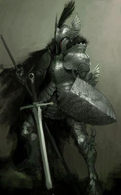 f Paladin Plate Armor Helm Shield Cape Sword Kim Bum Fantasy Male, Fantasy Armor, High Fantasy, Medieval Fantasy, Armadura Medieval, Dark Souls, Fantasy Character Design, Character Art, Character Concept