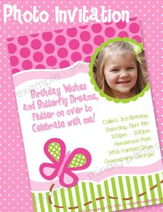 Butterfly Birthday Party Invitation - omg Sam, we need to do this!! Sooo cute!