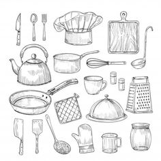 Hand drawn cooking tools kitchen equipment vector image on VectorStock Pencil Art Drawings, Drawing Sketches, Food Illustrations, Illustration Art, Object Drawing, Industrial Design Sketch, Christmas Drawing, Kitchen Equipment, Cooking Tools