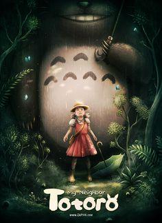 Ghibli - Mon Voisin Totoro (My Neighbor Totoro) Miyazaki - Fan Art by Zaphk Hayao Miyazaki, Film Animation Japonais, Animation Film, My Neighbor Totoro Movie, Totoro Poster, Studio Ghibli Films, Fan Art Anime, Animé Fan Art, Fan Poster