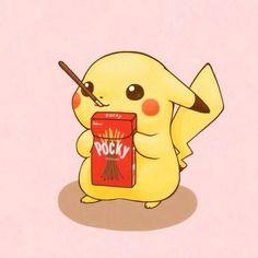 chibi pokemon anime eating pocky pickachu chibi pickachu ...