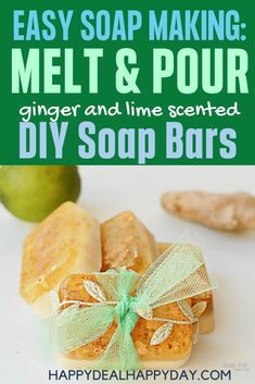 Easy Melt & Pour Soap Recipes Ginger and Lime Soap - includes free printable soap labels #soapmaking #meltandpoursoap #easysoap #homemadegifts #homemadegiftsforadults #ginger #lime #essentialoilsforbeginners #essentialoils Soap Making Recipes, Soap Recipes, Homemade Christmas Gifts, Homemade Gifts, Diy Gifts, Melt And Pour, Soap Labels, How To Make Paper Flowers, Mason Jar Gifts
