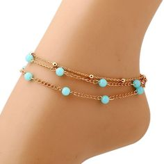 Fashion Multi Layer Blue Beads Anklet Gold Chain Anklets For Women Simple Chaine De Cheville Pour Femme