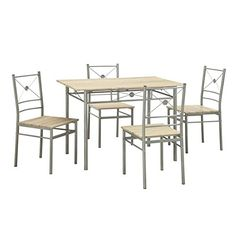 Coaster 100035 Home Furnishings 5 Piece Dining Set Brushed Silver *** Check this awesome product by going to the link at the image.Note:It is affiliate link to Amazon.