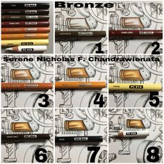 By Pencil Maniac How to do Bronze. draw/colour bronze with Prismacolor By Pencil Maniac How to do Bronze. draw/colour bronze with Prismacolor Prismacolor, Coloring Book Art, Coloring Tips, Adult Coloring, Colored Pencil Tutorial, Colored Pencil Techniques, Blending Colored Pencils, Color Blending, Pencil Drawing Tutorials