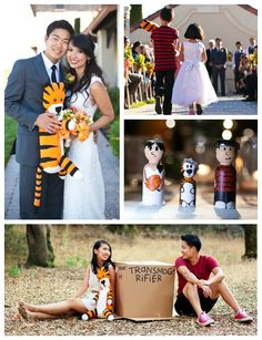 Calvin and Hobbes themed engagement and wedding... that's so cute!