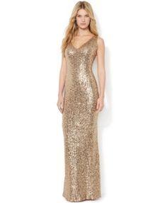 Lauren Ralph Lauren Sequined V-Neck Gown nylon/poly gold sz0 waist 43.5L 280.00