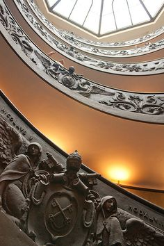 Close-up of the amazing carving on the famous spiral staircase in the Vatican Museum, Rome - Musei Vaticani by grzegorzmielczarek, via Flickr