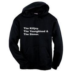Emo Trinity Hoodie ($39) ❤ liked on Polyvore featuring tops, hoodies, hooded sweatshirt, black hooded sweatshirt, hooded pullover, sweatshirt hoodies and black hoodie