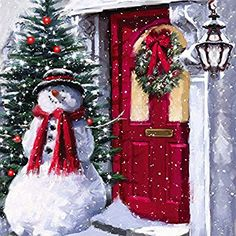 Amazon.com: Cypress Home Snowman Outside the Door LED Canvas Wall Decor: Home & Kitchen