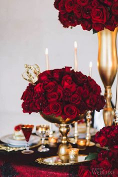 Red roses. Gold vases. Red linen. Le Chic Soiree. Flowers Time. Event Rental Group. | Photography by: Purple Tree Photography.