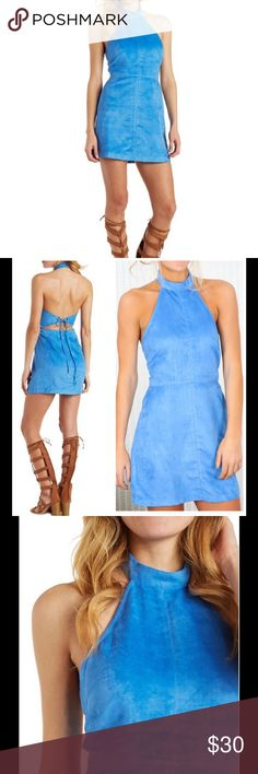 """Bid!! Blue Suede Mock Dress!NWOT! Fabulous faux suede sculpts this awesome A-line dress with a trendy mock neck n top! An arrow strap threads through metal grommets to tie over the open back, above an invisible zip closure that seals the deal.*Two snaps fasten the mock neck.*Fit Bust: 35.5""""-36.5"""", Fit Waist:27.5""""-28.5"""", Fit Hip: 37.5""""-38.5"""". ⭐️This item is Brand New!!⭐️ NEVER WORN!!⭐️ Boutique Dresses"""