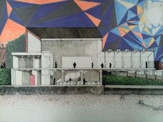 Architecture, Caravanserai, Gallery, Hand drawn, sectional perspective, sholanke.com