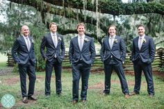 Groomsmen at Magnolia Plantation under the spanish moss and live oak trees // Aaron and Jillian Photography » Husband and Wife International Engagement & Wedding Photographers based in Charleston, South Carolina.