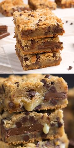 Gooey Chocolate Chip Cookie Bars are worth every calorie! These easy cookie bars start with the best chocolate chip cookie recipe and are filled with gooey chocolate and sweetened condensed milk. Theyre a gooey bar from heaven! Best Chocolate Chip Cookies Recipe, Chocolate Chip Cookie Bars, Keto Chocolate Chips, Chocolate Icing, Chocolate Brownies, Dessert Chocolate, Brownie Cookies, Bar Cookies, Delicious Chocolate