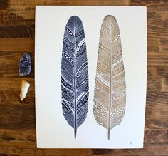 Patterned Feather Painting  Watercolor Art  Large by RiverLuna, $40.00