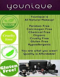Younique products are hypoallergenic, paraben free, gluten free, free of harmful chemicals, and cruelty free. Don't waste time and money on the cheap, harmful products out there.  It takes just 26 seconds for what you put on your skin to be absorbed into your body.