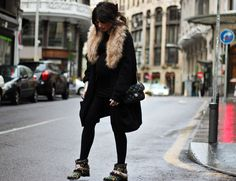 1/23/13, Topshop dress, H&M 3XL cardigan, H&M faux fur neck, Sendra shoes (old), Chanel bag, Primark bow