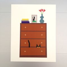 Cat and Dresser Print 11x14, $29, now featured on Fab.