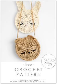 Crochet circle purses for kids! This bunny and bear crochet bag pattern is sure . Crochet circle p Purse Patterns Free, Crochet Purse Patterns, Bag Pattern Free, Crochet Bag Tutorials, Tutorial Crochet, Crochet Projects, Bag Crochet, Crochet Gratis, Crochet Purses